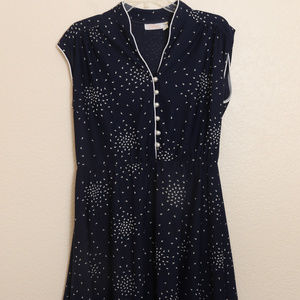 Vintage Dress Lady Carol of New York Large XL Navy